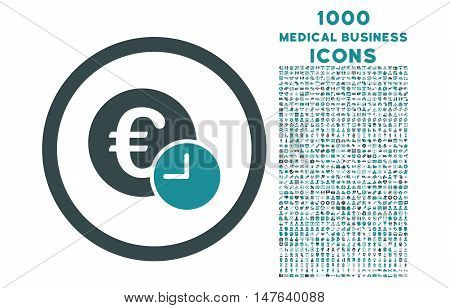 Euro Credit rounded vector bicolor icon with 1000 medical business icons. Set style is flat pictograms, soft blue colors, white background.