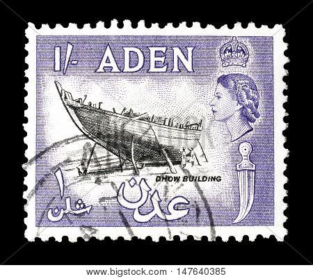 ADEN - CIRCA 1955 : Cancelled postage stamp printed by Aden, that shows Dhow building.