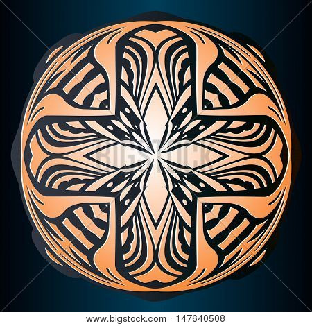 Abstract embossed decor, symmetrical pattern of interwoven lines in a circle of brown color on a black background