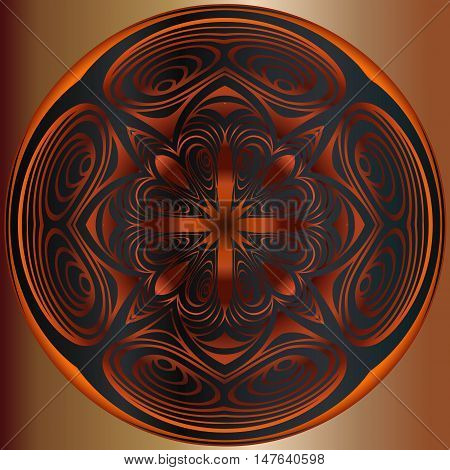 Abstract embossed decoration, a bronze medallion pattern symmetrically interlaced lines in a circle of black background