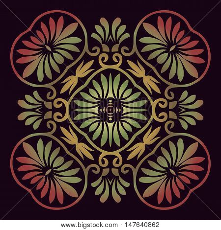 floral round ornament for print, embroidery. ethnic ornament symmetrical element. pattern