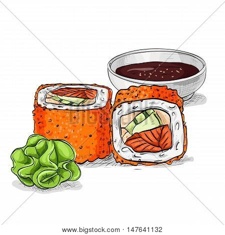 California rolls with tobiko, shrimp or tuna and avacado. Sushi rolls set icons. Vector sushi color sketch