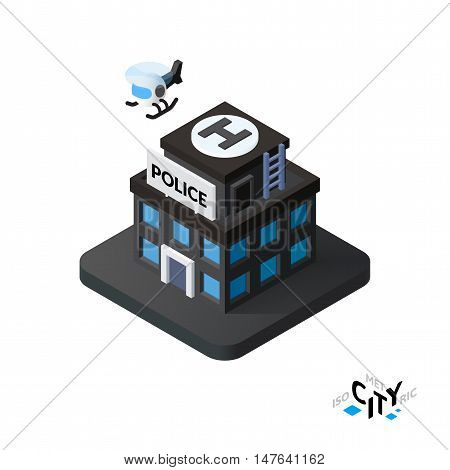 Isometric police station flat icon isolated on white background, building city infographic element, digital low poly graphic, vector illustration