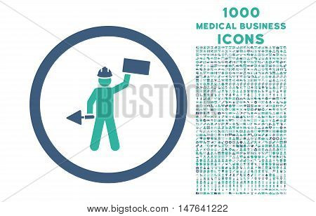 Builder With Shovel rounded vector bicolor icon with 1000 medical business icons. Set style is flat pictograms, cobalt and cyan colors, white background.