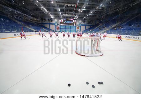 MOSCOW, RUSSIA - 14 OCT, 2015: Sportsmen are playing on rink at hockey meet Dinamo Balashikha and Izhstal