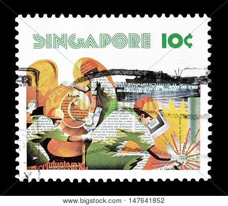 SINGAPORE - CIRCA 1977 : Cancelled postage stamp printed by Singapore, that shows Workers.