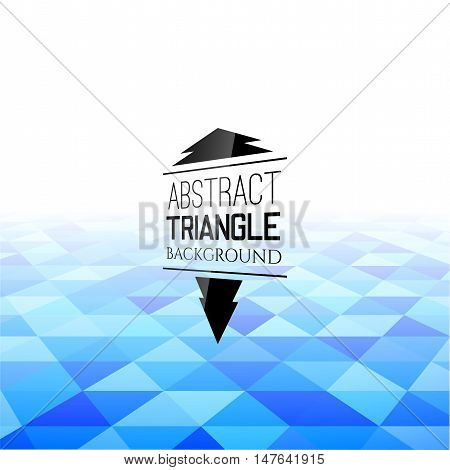 Abstract blue triangle field, perspetive pattern in fog, geometrical vibrant multicolored vector background illustration