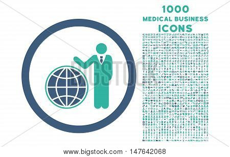 Global Manager rounded vector bicolor icon with 1000 medical business icons. Set style is flat pictograms, cobalt and cyan colors, white background.