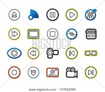 Outline icons thin flat design, modern line stroke style, web and mobile design element, objects and vector illustration icons set 5 - media collection