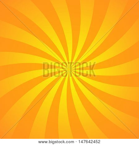 Yellow-orange rays poster. Popular ray star burst background television vintage. Dark-light bright abstract texture with sunburst flare beam. Retro art design Glow bright pattern Vector Illustration