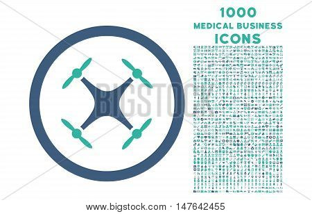 Quadcopter rounded vector bicolor icon with 1000 medical business icons. Set style is flat pictograms, cobalt and cyan colors, white background.