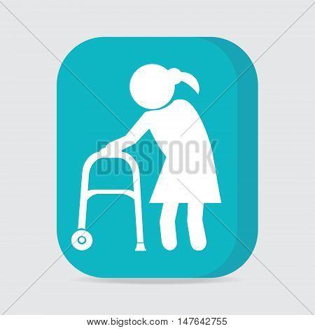 Elderly woman and walker symbol button vector illustration