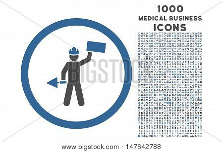 Builder With Shovel rounded vector bicolor icon with 1000 medical business icons. Set style is flat pictograms, cobalt and gray colors, white background.
