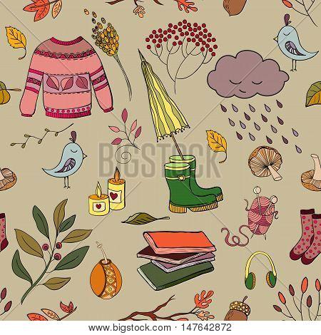 Vector handdrawn autumn seamless pattern. Autumn elements isolated on background. Vector illustration.