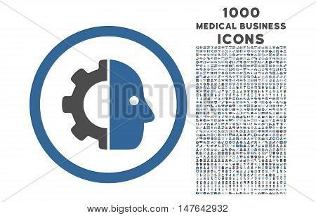 Cyborg rounded vector bicolor icon with 1000 medical business icons. Set style is flat pictograms, cobalt and gray colors, white background.