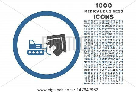 Demolition rounded vector bicolor icon with 1000 medical business icons. Set style is flat pictograms, cobalt and gray colors, white background.