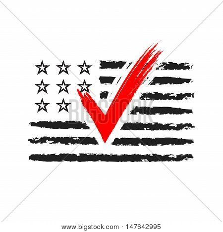 Presidential election USA sign. Black and red design on white background for voting campaign. Vote patriotic mark for poster icon sign. Symbol of political patriotism. Vector illustration