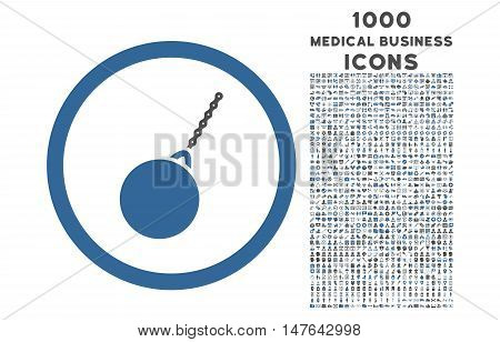 Destruction Hammer rounded vector bicolor icon with 1000 medical business icons. Set style is flat pictograms, cobalt and gray colors, white background.