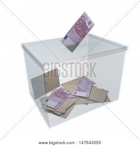 Banknote Vote In Glass Ballot Box 3D Rendering