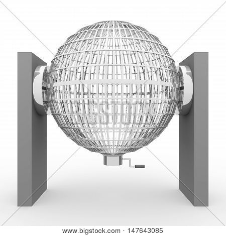 3D Rendering Silver Lottery Cage