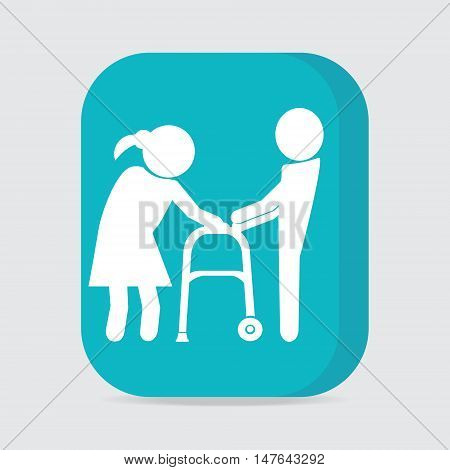 Man helps elderly woman patient with a walker button vector illustration