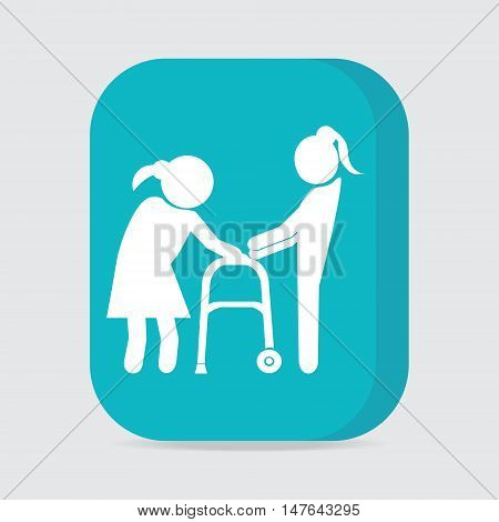 Woman helps elderly woman patient with a walker button vector illustration
