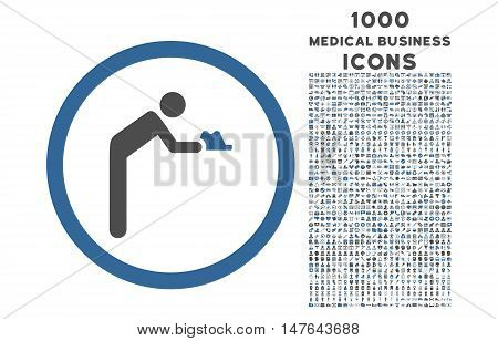 Servant rounded vector bicolor icon with 1000 medical business icons. Set style is flat pictograms, cobalt and gray colors, white background.