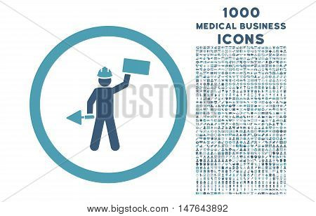 Builder With Shovel rounded vector bicolor icon with 1000 medical business icons. Set style is flat pictograms, cyan and blue colors, white background.