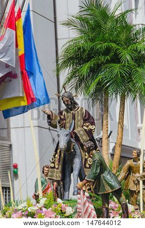 Sacred imagery in Valladolid's holy week procession. The Triumphal Entry of Jesus into Jerusalem also known as la borriquilla. Old Polychromed sculpture in wood and other materials