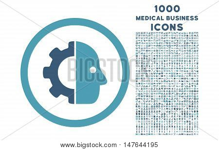 Cyborg rounded vector bicolor icon with 1000 medical business icons. Set style is flat pictograms, cyan and blue colors, white background.