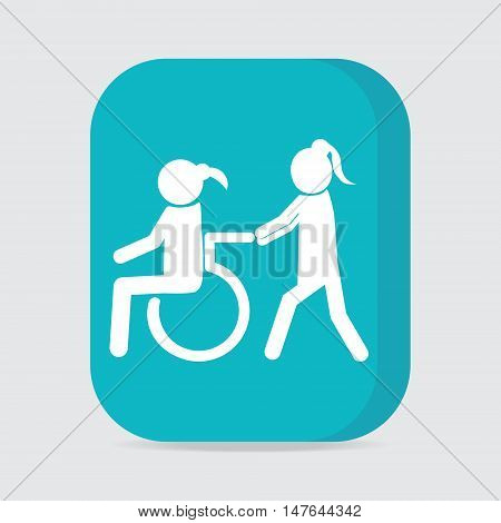 Disabled icon sign Disabled icon a woman pushing wheelchair of woman patient illustration