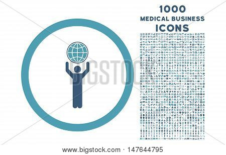 Globalist rounded vector bicolor icon with 1000 medical business icons. Set style is flat pictograms, cyan and blue colors, white background.