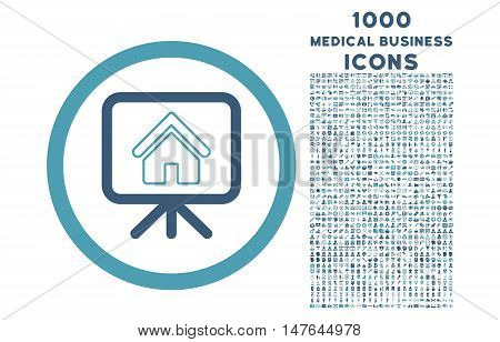Project Slideshow rounded vector bicolor icon with 1000 medical business icons. Set style is flat pictograms, cyan and blue colors, white background.