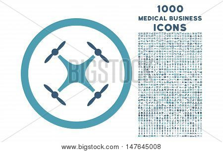 Quadcopter rounded vector bicolor icon with 1000 medical business icons. Set style is flat pictograms, cyan and blue colors, white background.
