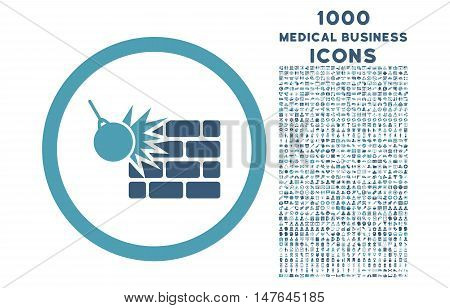 Wall Destruction rounded vector bicolor icon with 1000 medical business icons. Set style is flat pictograms, cyan and blue colors, white background.