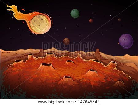 Comet and other planets in galaxy illustration