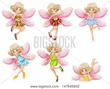 Six fairies with pink wings illustration