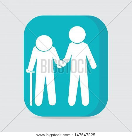 Man helps elderly patient icon button vector illustration