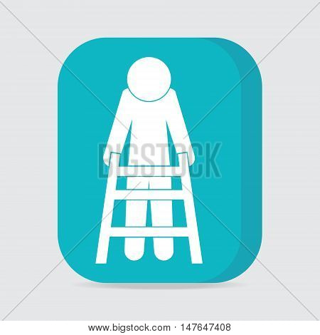 Elderly man and walker sign icon vector illustration