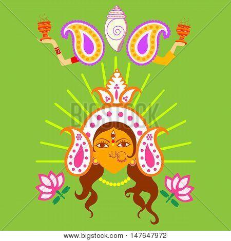 Vector design of India festival Happy Durga Puja background