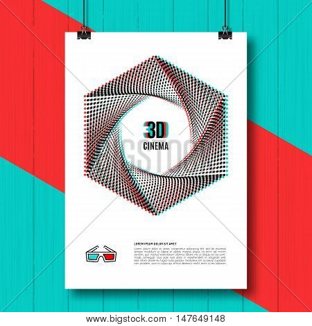 3D cinema creative concept, 3d movie, 3D glasses icon. 3D symbol with chromatic aberration, creative concept poster, covers, brochure, flyers. Vector illustration