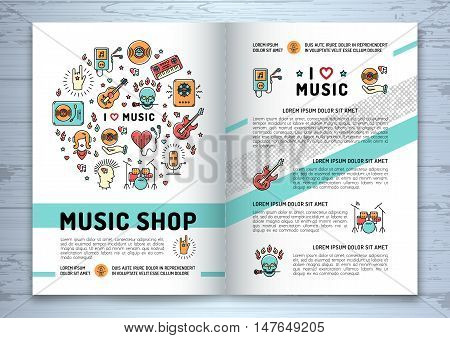 Music brochure template A4 size. Music infographics, trendy icons line art style. Vector design mock-up catalog, cover, flyers, cards on a wooden background. Corporate Identity Music shop
