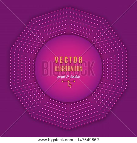 Purple fuschia violet abstract background. Geometric shapes, Decagon design, Abstract light halftone. Text place, all the elements are isolated and can be easily edited, Vector illustration