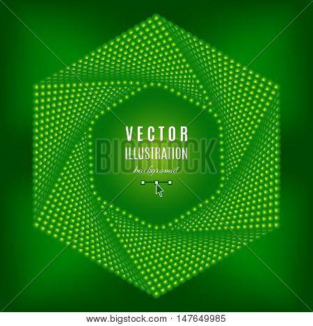 Green abstract background, Futuristic technology style hexagon design elements, Green digital background, Green dots design. Text place, all the elements are isolated, Vector illustration