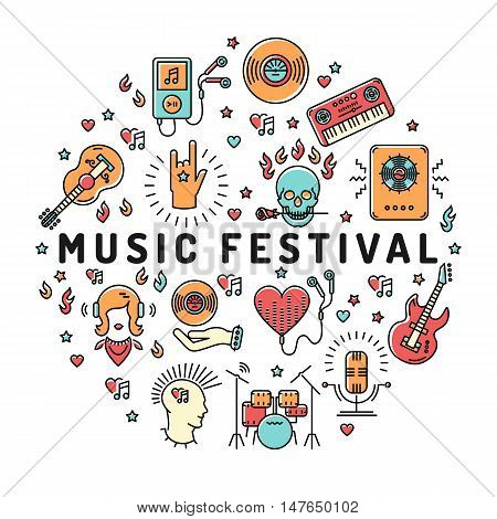 Music festival poster template, musical collage of isolated line art icons arranged in a circle, round symbol. Music infographics, rock, jazz concert, vector design