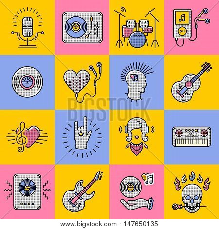 Set collage of music icons. Modern colorful musical icons in the style of art trending thin line. Rock, jazz, punk, music studio moderm vector