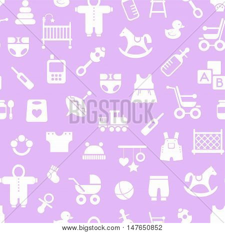 Products for children, background, seamless, Magenta. Vector colored background with clothes, toys and personal items for newborns and young children. White icons on a light lilac background.