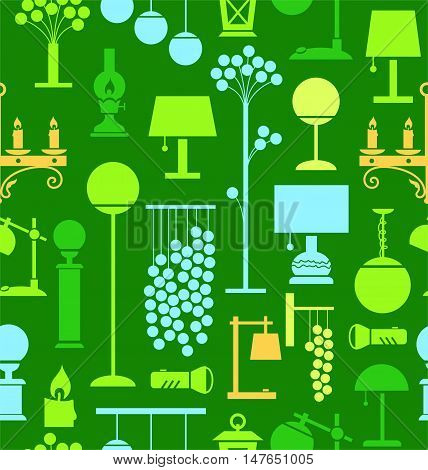 Lamps for home and garden, background, seamless, green. Vector background with different lamps. Green, blue and yellow flat image on a green background.
