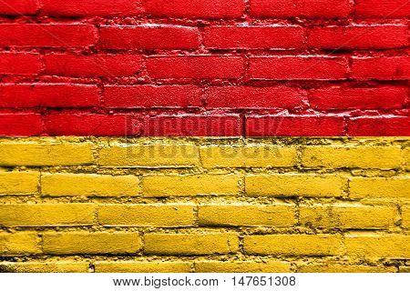 Flag Of Cuenca, Ecuador, Painted On Brick Wall