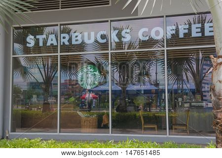 CHACHOENGSAO , THAILAND - SEPTEMBER 18, 2016 : Starbucks shop in the mall , Chachoengsao , Thailand . SEPTEMBER 18 2016 . Starbucks is leader of premium coffee brand.